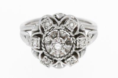 18 K Witgouden Rozet Ring met Diamant