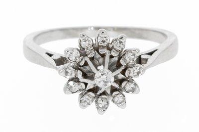 18K Witgouden Rozet Ring met Diamant