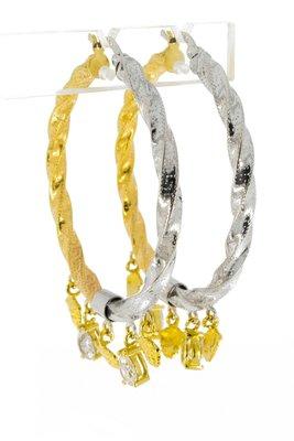 14 karaat bicolor gouden wokkel Creolen
