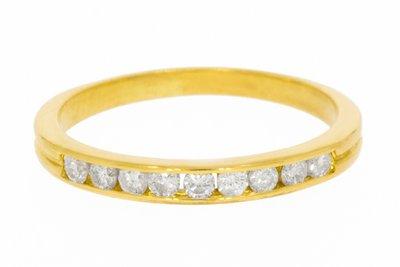 18 Karaat geelgouden Aanschuifring / Rijring met Diamant