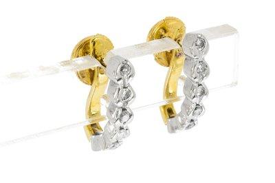 18 Karaat bicolor gouden Oorhangers met Diamant (0.30 crt)