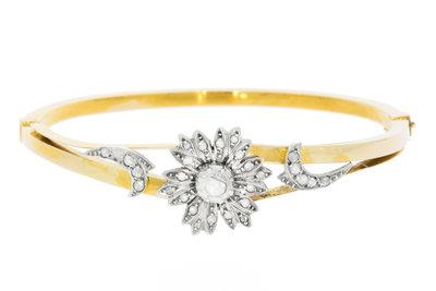 14K Gouden Slaven Armband met diamant