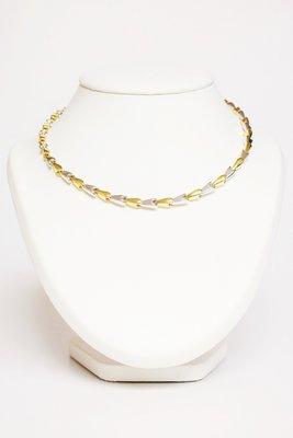 14 karaat Bicolor Gouden Schakel Collier - 45 cm