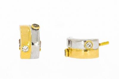 14 Karaat bi- color Gouden Oorstekers gezet met Zirkonia