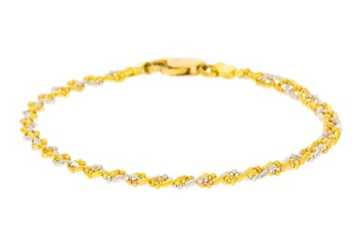 18 Karaat bicolor Gouden Fantasie Armband - 19 cm