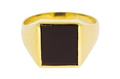 14 karaat geel gouden Zegelring met Onyx