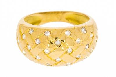 18K Gouden Bandring met Diamant