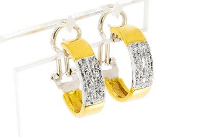 18 Karaat bicolor gouden Creolen gezet met Diamant
