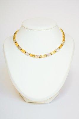 18 Karaat bicolor Gouden Collier gezet met Diamant