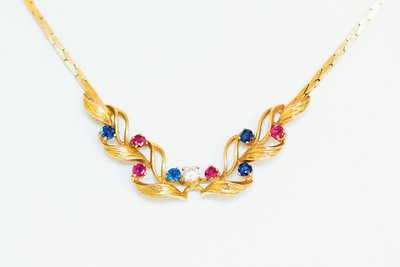 18K Gouden Collier met Diamant Saffier en Robijn