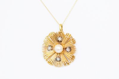 18 Karaat gouden fantasie Hanger met Parel & Diamant
