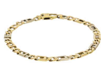 14 Karaat bicolor gouden Anker armband - 20cm VERKOCHT