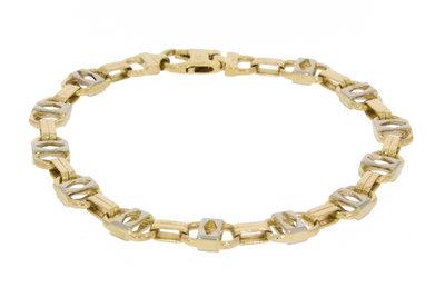 14K Bicolor Gouden Schakel Armband 24,26 gr / 23,5 cm