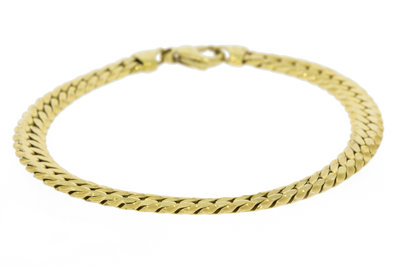 14K Gouden Geslepen / Gewalst Gourmet Armband -20 cm VERKOCHT