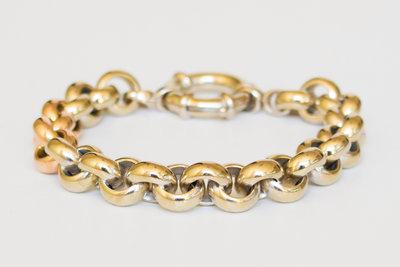 14 K gouden bicolor Jasseron slotarmband-20 cm