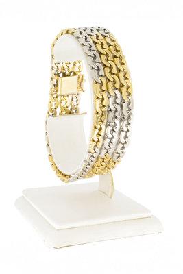"18 Karaat gouden ""Triple"" Gourmet armband met Diamant-19 cm"