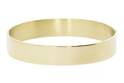 14 Karaat gouden brede Slavenarmband met dubbele sluiting