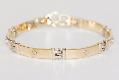 Gouden armband met dubbele karabijnsluiting-19,5 cm