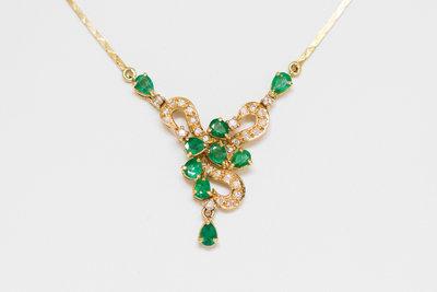 18 K Gouden Collier met Smaragd en Diamant
