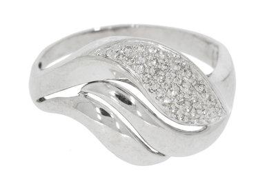 18 karaat witgouden fantasiering met pave  gezette Diamant