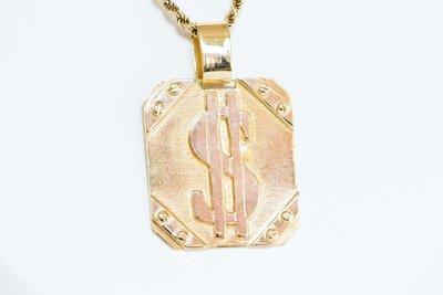 """14 karaat gouden kettinghanger """"DOLLAR SIGN"""" op gouden plak"""
