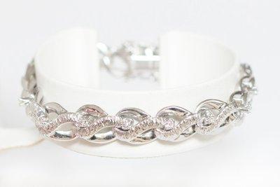 18k gouden Armband met Diamant en Zirkonia-18,5 cm