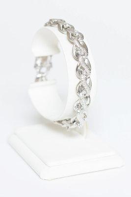18 Karaat gouden gefigureerde armband met Diamant- 18,5 cm
