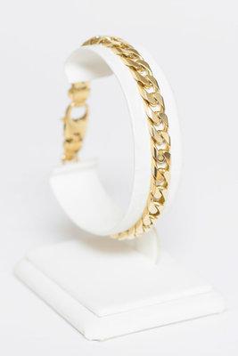 18k Bicolor gouden Gourmet schakel armband- 20 cm