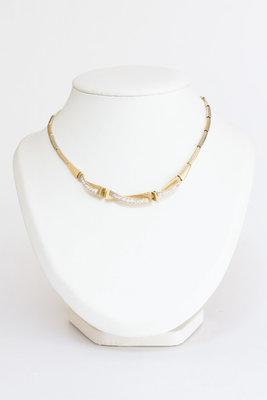 14 Karaat bicolor gouden staafjes Collier - 46 cm