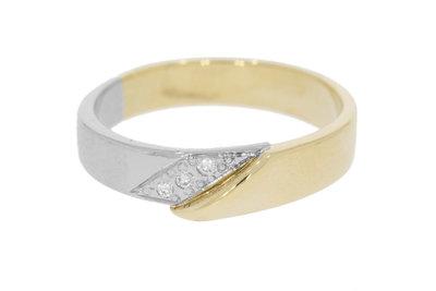 14 Karaat bicolor gouden trouwring gezet met Zirkonia
