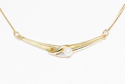14K bicolor gouden slangen collier met parel