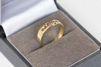 """14 Karaat geel gouden """"Schakel"""" ring"""