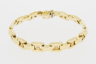 14 K grove gouden schakelarmband - 21,5 cm