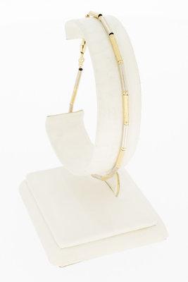 14 Karaat bicolor gouden staafjes armband - 21 CM