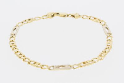 14 K Gouden Figaro schakel armband met spekken-VERKOCHT