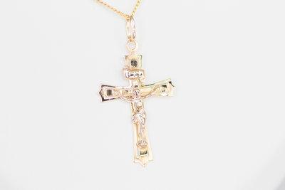 14 karaat gouden -Kruis- ketting hanger