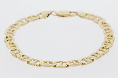 14 K gouden Gourmet fantasie schakelarmband- 22 cm