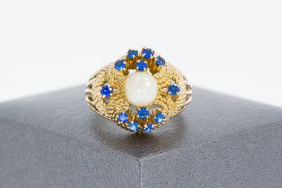 Gouden Markies ring met Parel & Saffier