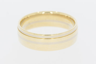 """14 Karaat brede bicolor gouden trouwring """"Constant"""""""