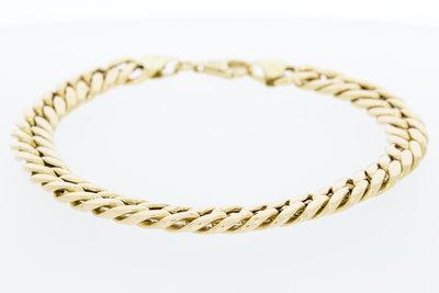 14 Karaat geelgouden gewalste gourmet armband - 23 cm
