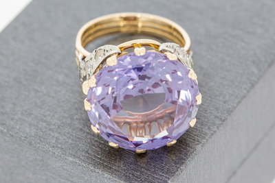 18 K bicolor gouden Markies ring met Amethyst en Zirkonia VERKOCHT