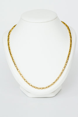 18 K gouden koningsketting -byzantijns vierkant-60,5 cm-