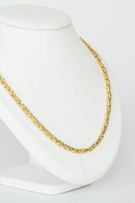 18k gouden koningsketting -byzantijns vierkant -61 cm