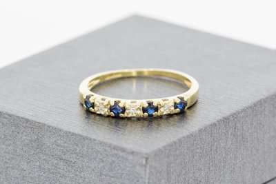 14 Karaat geelgouden Alliance ring met Diamant & Saffier