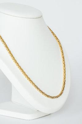 14 K gouden koningsketting -byzantijns vierkant -61 cm