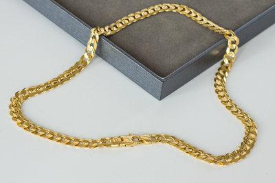 18K gouden gewalste Gourmet ketting met dubbel eindstuk- 50,5 cm