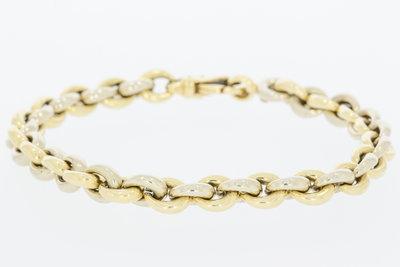 14 K bicolor gouden Jasseron armband - 21 cm