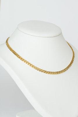 Gouden gewalste Gourmet ketting- 44,5 cm
