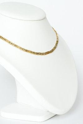 14K bicolor gouden gewalste Valkoog schakelketting