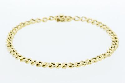 14 karaat geelgouden Gourmet schakelarmband - 22 cm